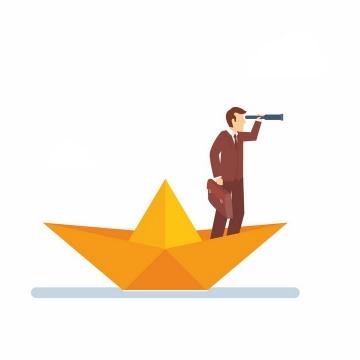 站在橙色折纸船上用望远镜的商务人士png图片免抠矢量素材