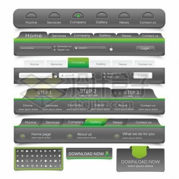 各种立体风格灰色绿色网站导航菜单设计样式png图片素材