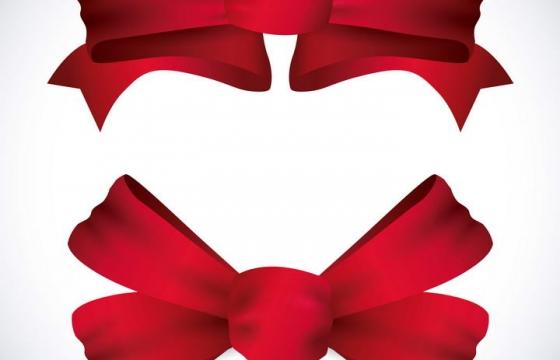 两个红色蝴蝶结免抠矢量图片素材