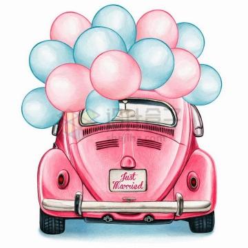 彩绘风格粉色甲壳虫汽车上挂满了彩色气球png图片免抠矢量素材
