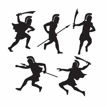5款拿着冷兵器武器战斗的古罗马战士角斗士剪影png图片免抠矢量素材