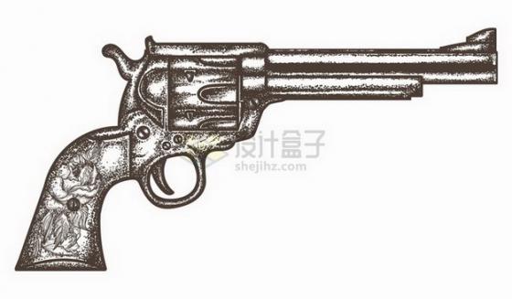 一把左轮手枪手绘素描插画png图片免抠矢量素材