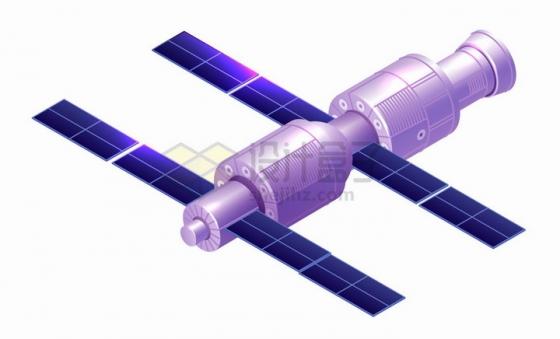 2.5D风格紫色国际空间站太空站png图片免抠矢量素材