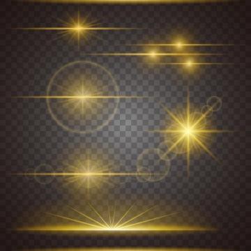 6款金黄色光芒光晕星光效果图片免抠矢量图素材
