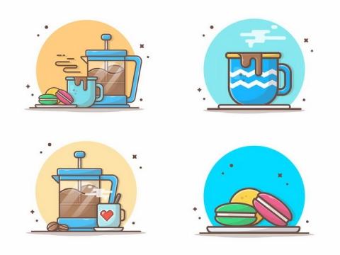 4款MBE风格咖啡机和咖啡饼干png图片免抠矢量素材