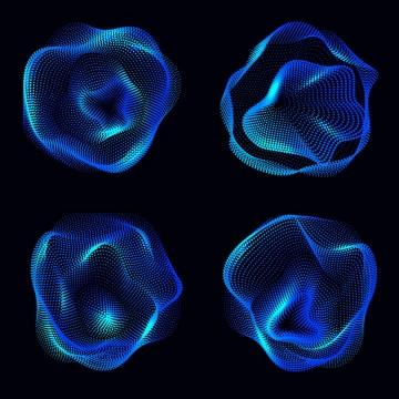 4款蓝色光点组成的不规则形状图片免抠矢量图素材