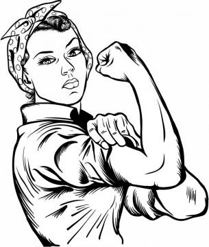 手绘展示肌肉的女人妇女能顶半边天png图片免抠矢量素材