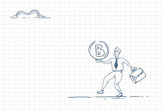 圆珠笔画涂鸦风格带着比特币符号向前走职场人际交往配图图片免抠矢量素材