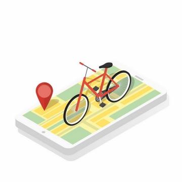 2.5D风格智能手机上的自行车共享单车png图片免抠矢量素材