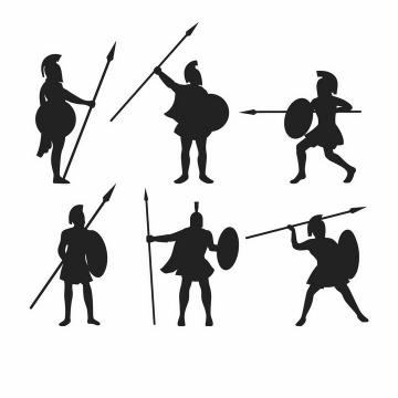 6款拿着长矛和盾牌战斗的古罗马战士角斗士剪影png图片免抠矢量素材