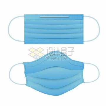 使用中和铺平的蓝色一次性医用口罩png图片免抠矢量素材