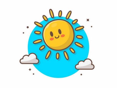MBE风格卡通太阳和云朵png图片免抠矢量素材
