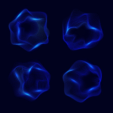 4款深蓝色光点组成的不规则形状图片免抠矢量图素材
