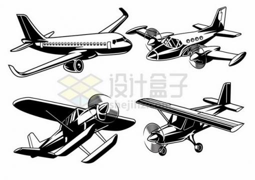 黑白色大型客机螺旋桨飞机插画635985 png图片素材