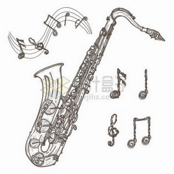 萨克斯乐器和音乐音符手绘素描插画png图片免抠矢量素材