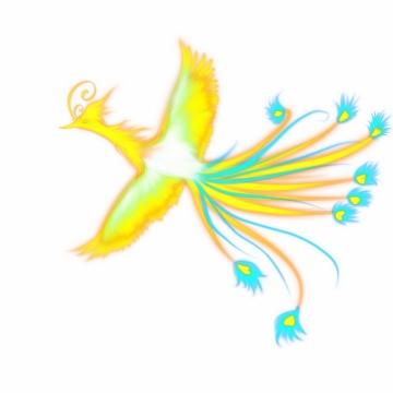 发光的黄色蓝色凤凰中国传统神兽png图片免抠素材