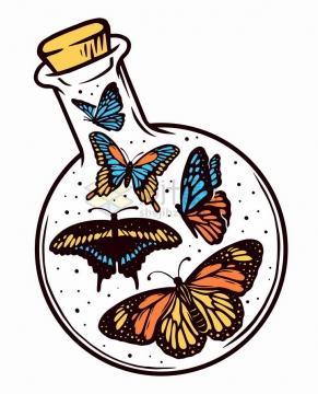 透明玻璃瓶中的蝴蝶抽象手绘插画png图片免抠矢量素材
