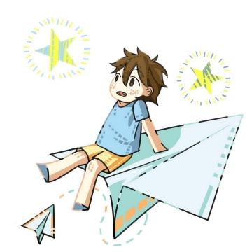 MBE风格坐在纸飞机上的男孩儿童节图片免抠素材