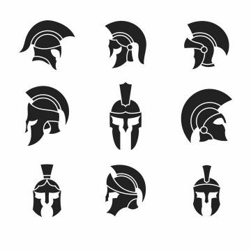 9款古罗马战士角斗士头盔帽子图案png图片免抠矢量素材