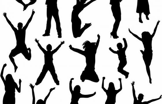 各种兴奋得跳起来跳跃的年轻人剪影png图片免抠矢量素材