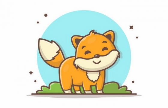 MBE风格草地上的卡通狐狸png图片免抠矢量素材