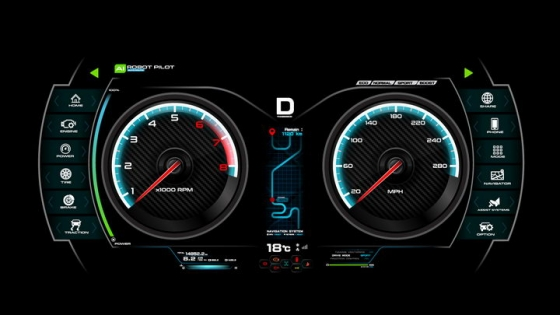 逼真酷炫的汽车仪表盘显示界面png图片免抠矢量素材