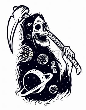 幽灵死神太空星球手绘插画png图片免抠矢量素材