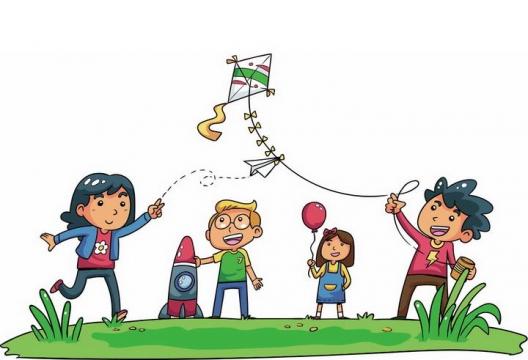 手绘卡通风格正在放风筝的一家四口郊游踏青图片免抠素材