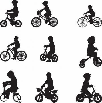 9款正在骑单车自行车的孩子儿童剪影png图片免抠矢量素材