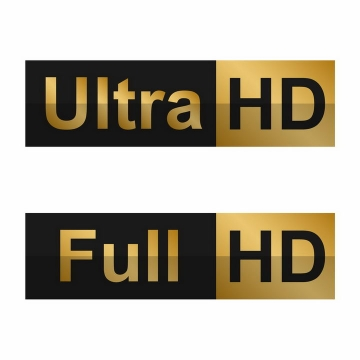 超高清Ultra HD和全高清Full HD图标png图片免抠矢量素材