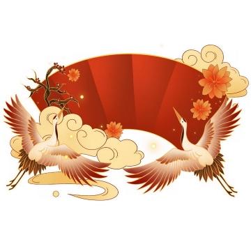 新年春节金色祥云仙鹤装饰红色扇形文本框png图片免抠素材