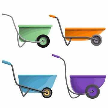 4种颜色的小推车独轮车工具车侧面图png图片免抠矢量素材