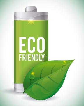 绿色树叶节能环保电池图标免抠矢量图片素材