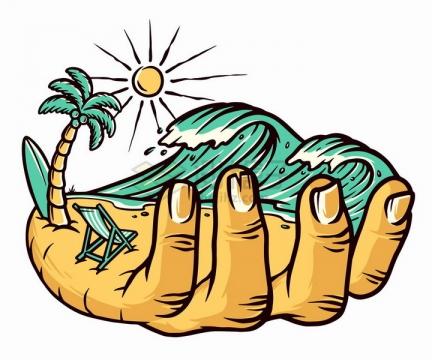 手上的海滩海浪和沙滩手绘插画png图片免抠矢量素材