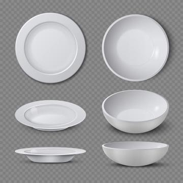 两款白瓷盘子和白瓷碗瓷器餐具三视图图片免抠素材