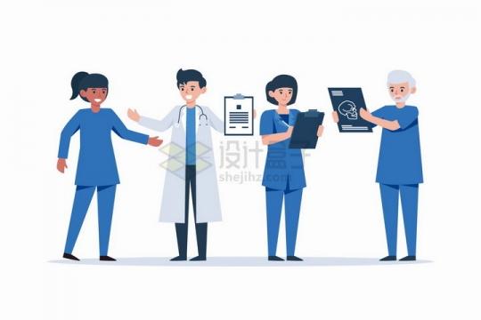 4个拿着医疗报告的卡通医生png图片免抠矢量素材