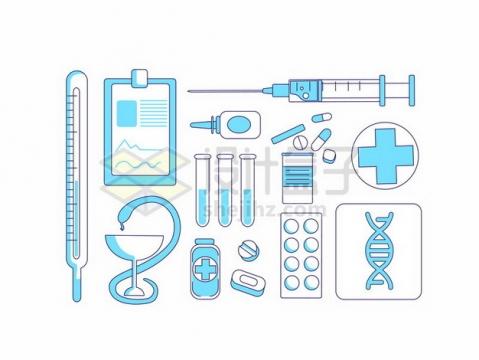 简约蓝色温度计注射器等医疗用品145265 png图片素材