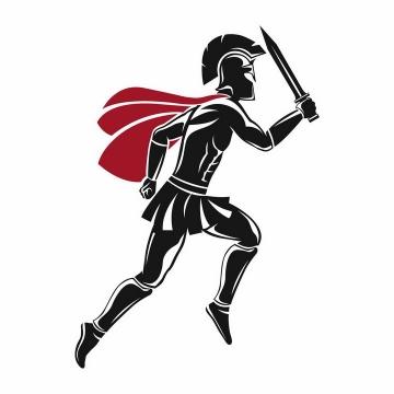 手持利剑正在奔跑的黑色披着红色披肩的古罗马战士角斗士png图片免抠矢量素材