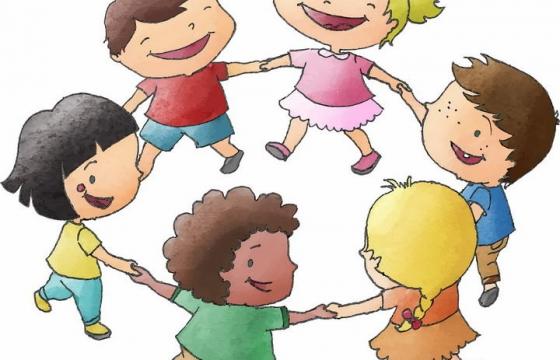 手绘涂鸦风格手牵手玩耍的小朋友儿童节图片免抠素材