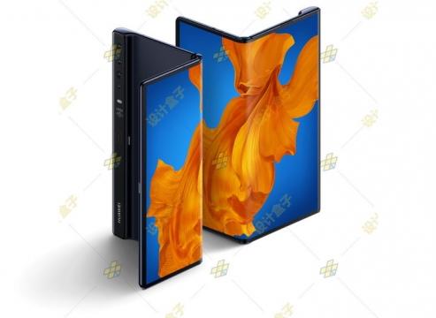 两台华为Mate Xs折叠屏手机展示图png图片免抠素材