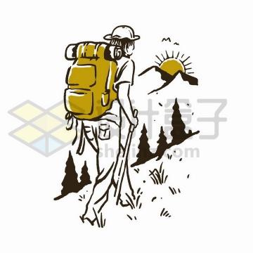 手绘涂鸦风格登山的年轻人png图片免抠矢量素材