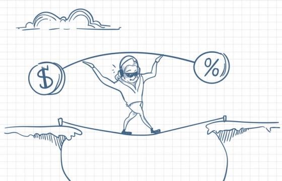 圆珠笔画涂鸦风格扛着金钱和增长符号走钢丝绳职场人际交往配图图片免抠矢量素材