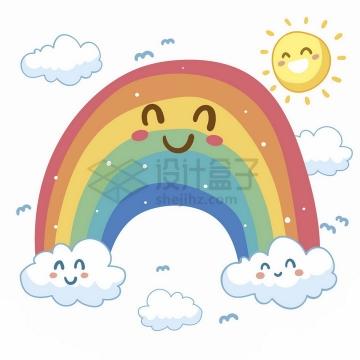 卡通太阳七彩虹和云朵儿童画插画png图片免抠矢量素材