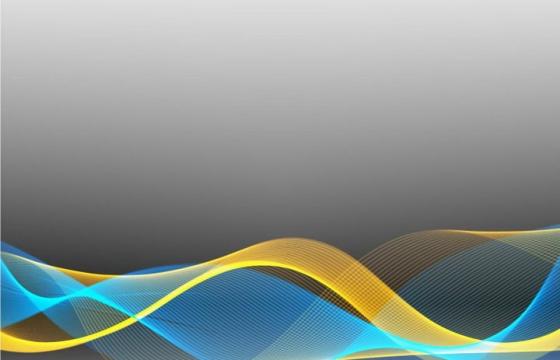 唯美风格黄色蓝色线条光波波浪装饰图案免抠png图片矢量图素材