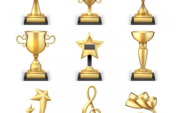 九款各种不同形态的金杯奖杯图片免抠素材