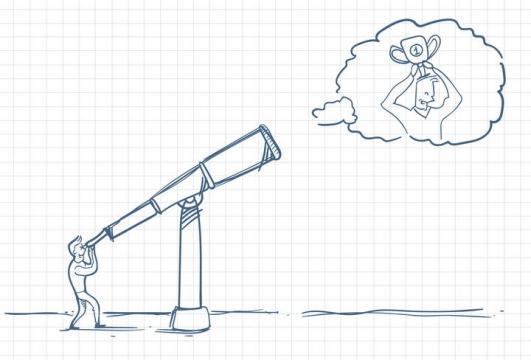 圆珠笔画涂鸦风格望远镜里看到获得第一名的人职场人际交往配图图片免抠矢量素材