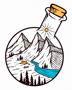 透明玻璃瓶中的高山河流手绘插画png图片免抠矢量素材