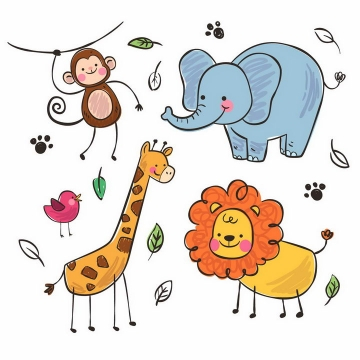 卡通手绘素描猴子大象长颈鹿狮子小鸟儿童简笔画png图片免抠矢量素材