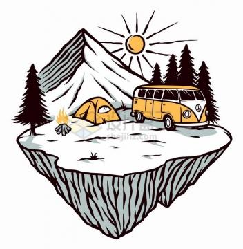 悬空岛高山旅游车手绘插画png图片免抠矢量素材