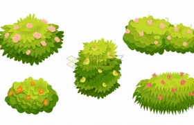 5款点缀着红色黄色小花的卡通灌木丛青草丛png图片素材